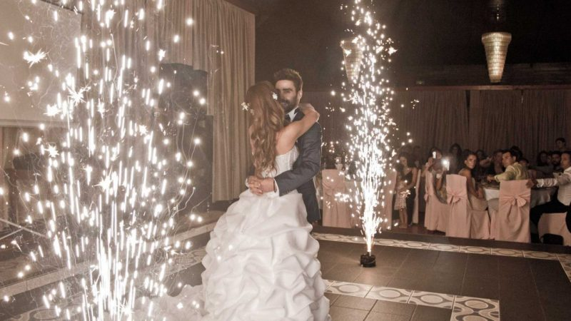 WEDDING DJS IN GREECE SANTORINI MYKONOS GROUND FLOOR FOUNTAIN PYROFLASH FIREWORK