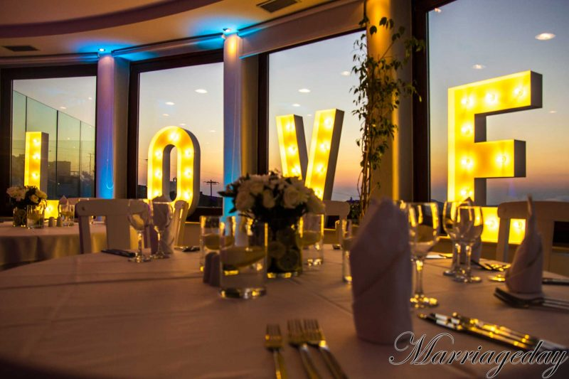 WEDDING DJS IN GREECE SANTORINI MYKONOS WEDDING LED LETTERS DECORATION