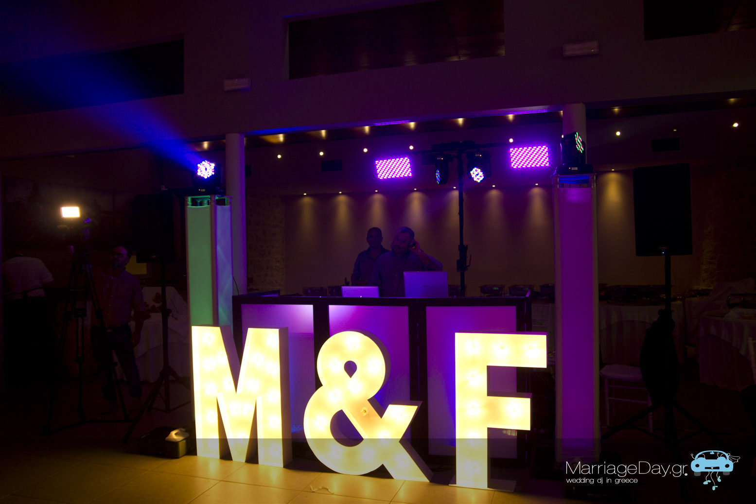 Marriageday set up | Dance floor lighting | lighted up letters for wedding