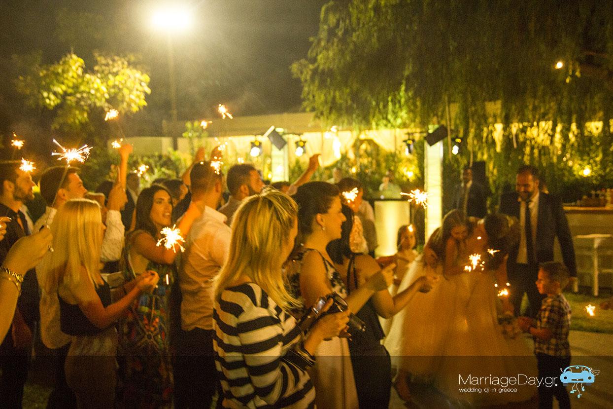 Marriageday first entrance sparklers Ktima Kalipso Athens 72